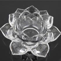 透明水晶玻璃彩色莲花烛台蜡烛台供佛灯莲花灯家居饰品工艺摆件