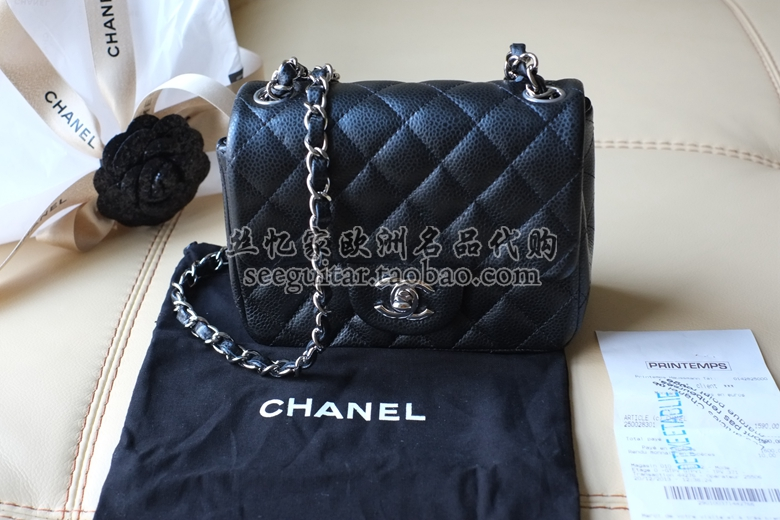 20e8235c045e French purchasing Chanel Chanel Mini CF chain 17cm black and silver  clamshell package litchi cowhide