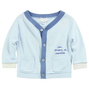 Belleville France mansion newborn baby baby boy V-neck thin knit cardigan sweater