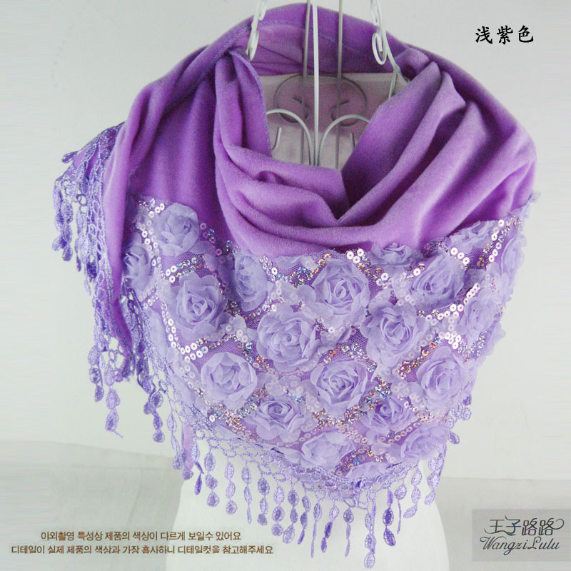 Womens triangle sequins Flower Rose Lace Silk Scarf thick velvet scarf spring and autumn winter shawl