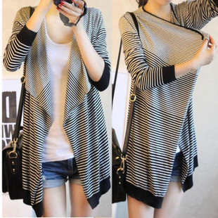 Free post high quality 2017 new autumn dress Korean irregular shawl striped T-shirt womens cardigan loose coat