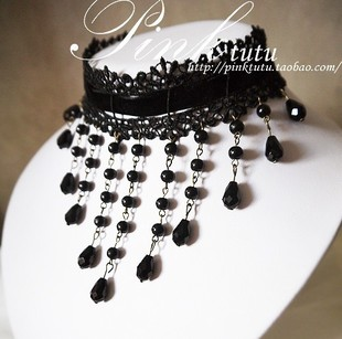 Original European and American jewelry vintage lace beautiful princess black pearl crystal tassel necklace XL047 new