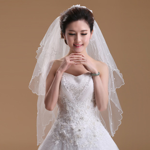 Rhinestone bridal veil two super soft pearl crescent veil pearl hairpin Edition