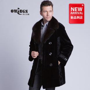 Haining new fur mink coat sable mink cashmere men s long double breasted leather jacket entire Diaoqiu