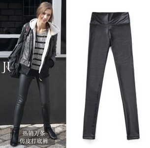 2011 new spring in Europe and America the original single large size high waist matte leather leggings tight pencil leather pants