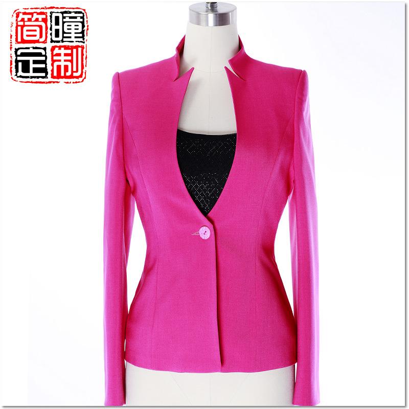 简瞳职业时尚女装2012主持人播音员服装上镜装立领小西装大码7033