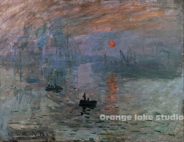 裝飾畫法國巴黎馬爾莫坦美術館藏芯布畫年1873日出印象莫奈