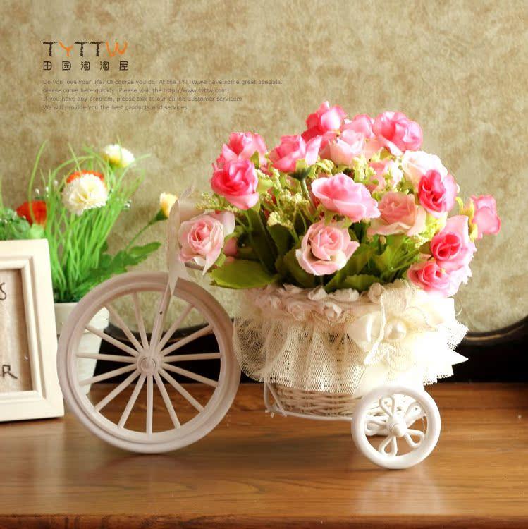 Кружева из ротанга кованого железа 3 колесный маленький цветок украшения цветы подарочный набор 2 дополнительно