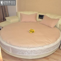 Izu Pure cotton net surface pure color fine twill can be customized round quilt cover three pieces of light camel beige
