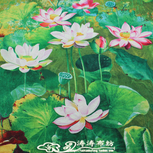 Washed three crown special cotton linen fabrics apparel fabrics printing ink painting imitation lotus