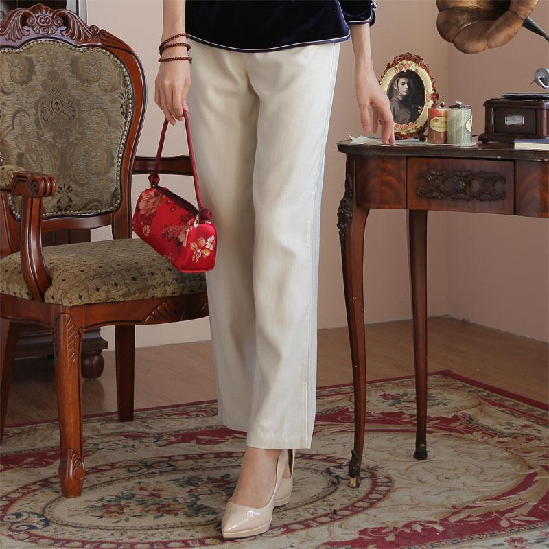 Все ладан облако 105 костюм мисс случайный эластичные льняная ткань брюки женские брюки ежедневно дикий женщины китайский стиль брюки