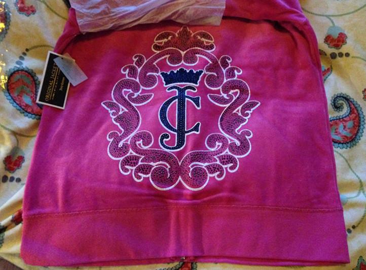 现货美国Juicy Couture橘滋桃红色pink天鹅绒皇冠水钻大logo