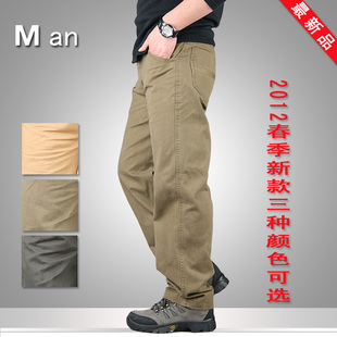 Men s spring and summer classic simple models of foreign trade cotton overalls men s casual pants pants thin section M