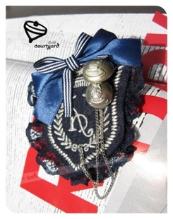 Classic Button bow braid tassel chain lace fabric corsage brooch pin badge jewelry for men and women