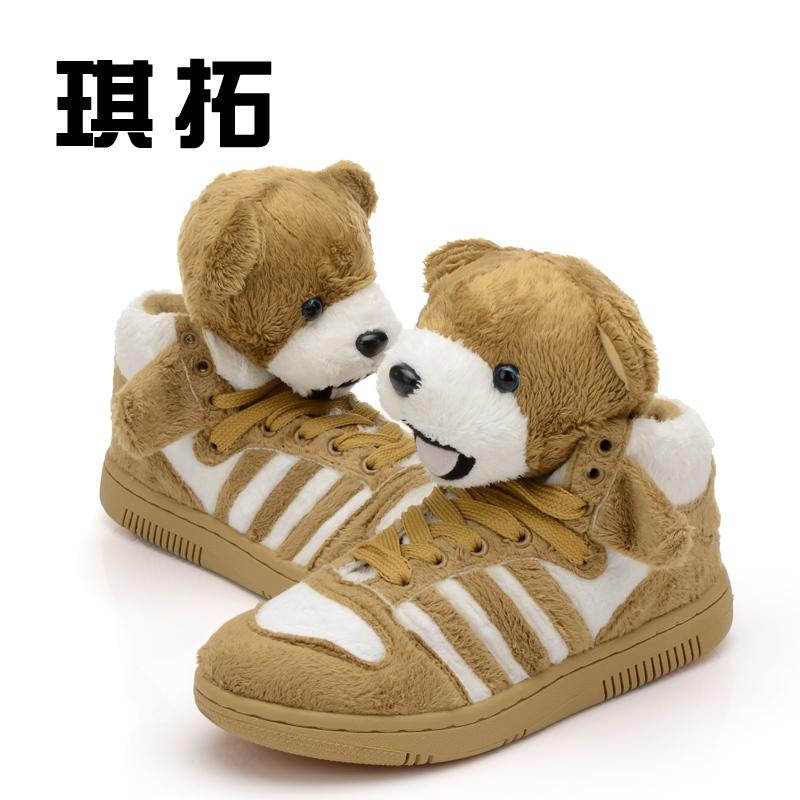 к 2015 году новые Panda Обувь спортивная обувь с высокой помощью корейских приливных обувь милый плюшевый мишка обувь женская обувь