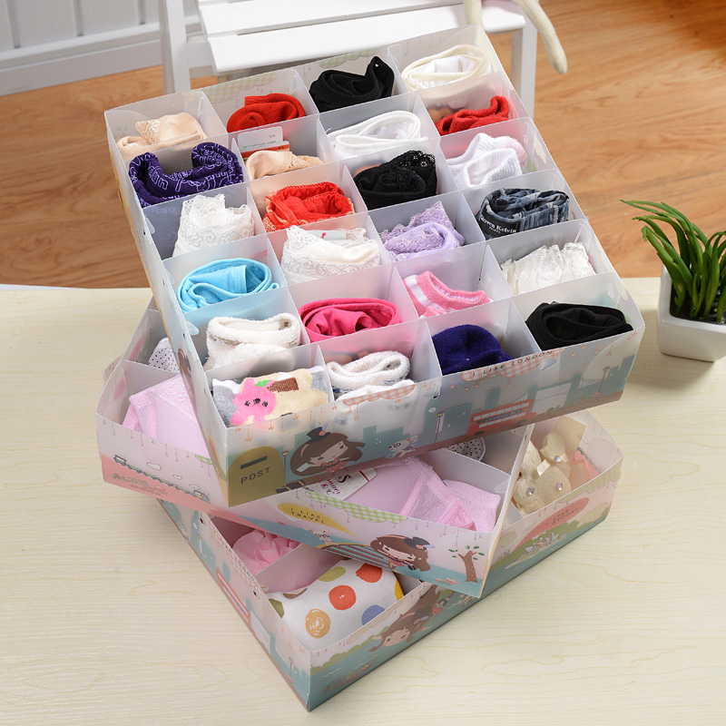 Shuangqing пластиковые покрыты бюстгальтер белье хранения хранения груди брюки носки белье трехсекционный коробка с крышкой