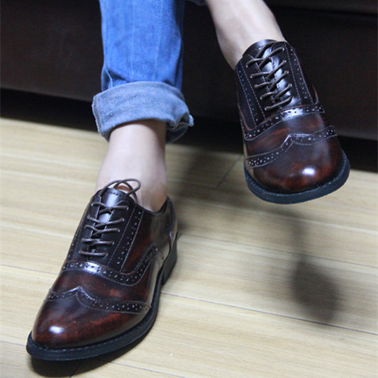 Leather new style college style retro made womens shoes European and American block British shoes lace up Oxford womens single shoes