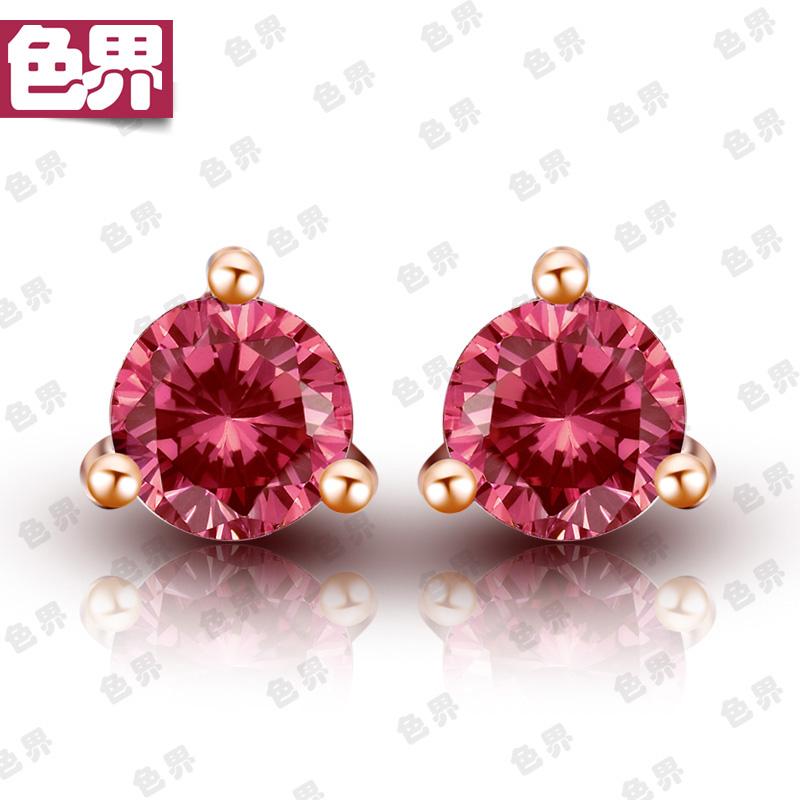 Color world natural tourmaline 18k rose gold earrings red color gem Tourmaline Earrings gem Earrings