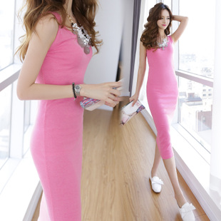 2015 Korean Slim female cotton sleeveless vest dress was thin straps bottoming hip new spring and summer dress