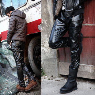 The new men s winter leather pants feet Slim Korean men male personality tide men s leather pants tight leather pants male full