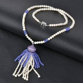 Thai natural Pearl female long chain necklace jewelry chain of high-end luxury sweater tanzanite