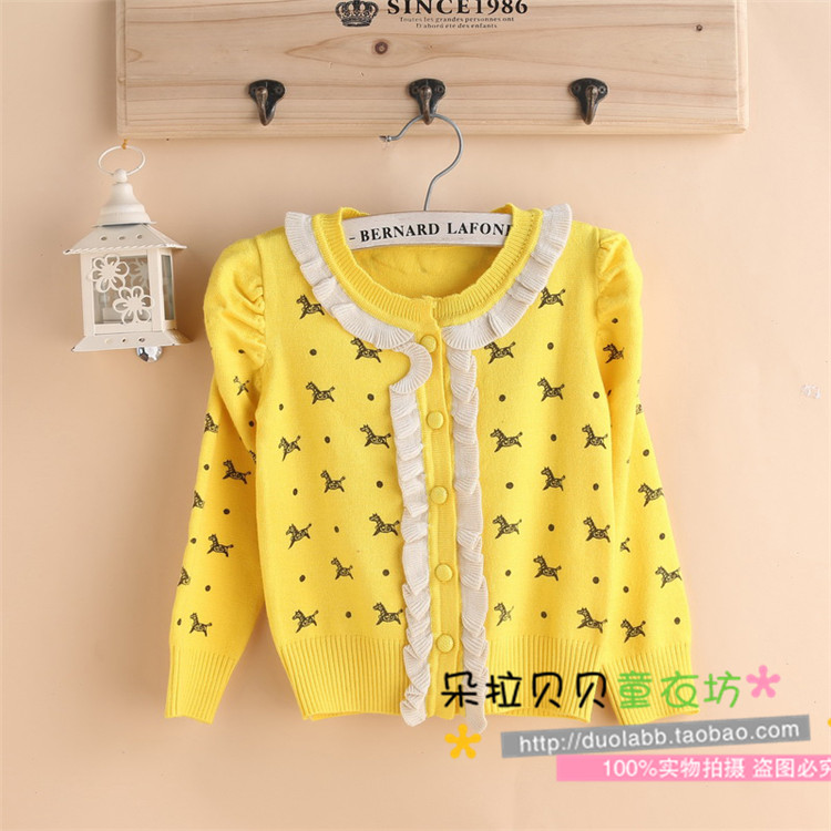 Girls spring and autumn childrens clothing childrens sweater cardigan girls cashmere blended sweater coat 90-110