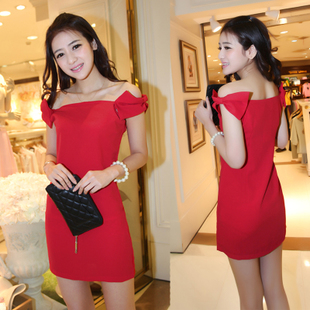 2015 new evening dress short paragraph the word shoulder Slim wedding dress red bride toast clothing Korean dress