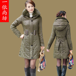 Rabbit fur collar and long sections Slim padded coat and long sections army green cotton coat cotton bGAPdf