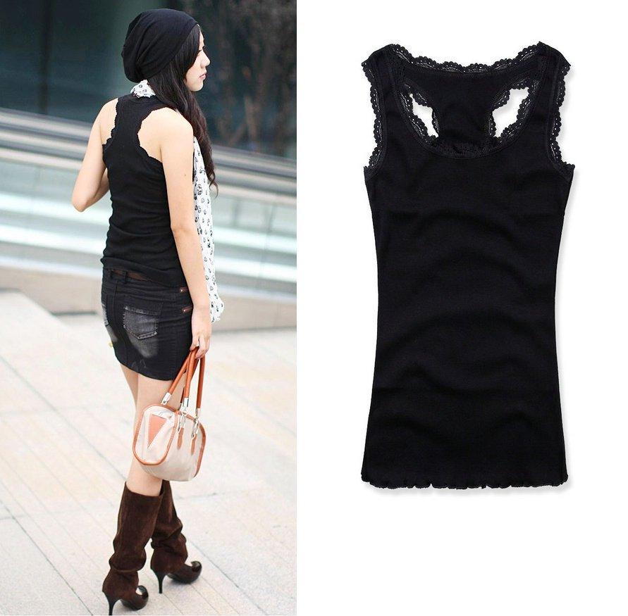 新款夏装2011女装 优质螺纹棉 长款蕾丝花边 工字背心 吊带打底衫