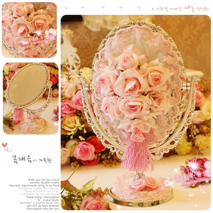 Marriage gifts ~ powder color princess high-grade silver rose ~ Large PVC galvanized desktop mirror mirror