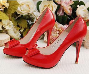 2014 New high heels Korea Princess nightclub red bow fish head shoes wedding shoes 34 yards 40 4329886