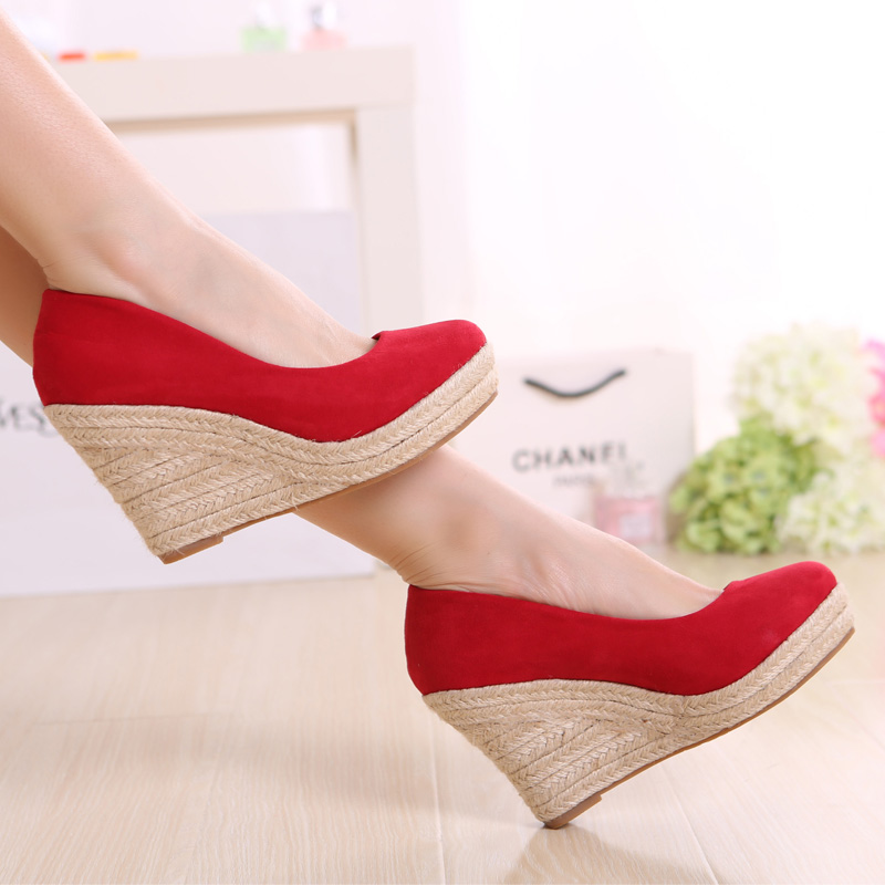 2021 new high heel shallow mouth single shoe thick sole shoes red wedding shoes size womens shoes slope heel thick heel muffin shoes