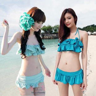 Korean students flounced bikini steel prop gather small chest cute female swimsuit swimsuit Bra