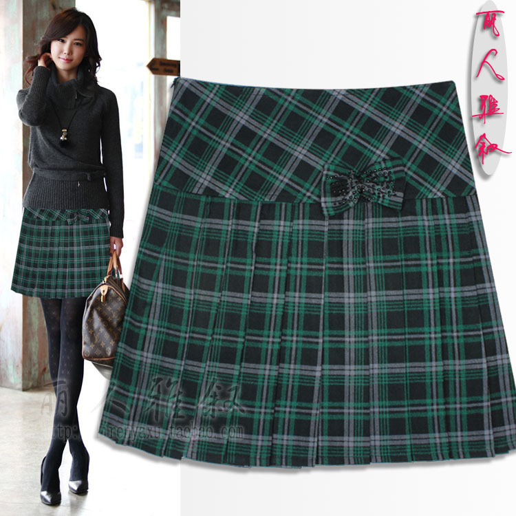 Зелёная клетчатая юбка
