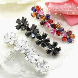 South Korean imports of hair accessories beautiful Beaumira 4 flowers crystal diamond hairpin hairpin side folder bangs clip special
