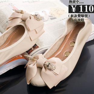 Sweet bow flower diamond skull flat shoes shallow mouth low heeled leather pointed shoes bridesmaid shoes