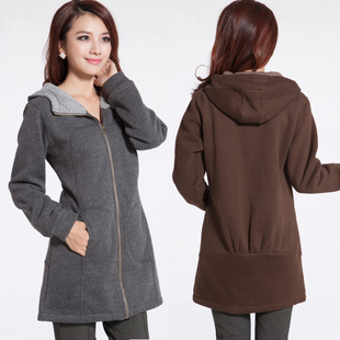 Clearance large size women jacket Spring and Autumn new Korean version mm fat people dress was thin clothing plus thick velvet hooded sweater