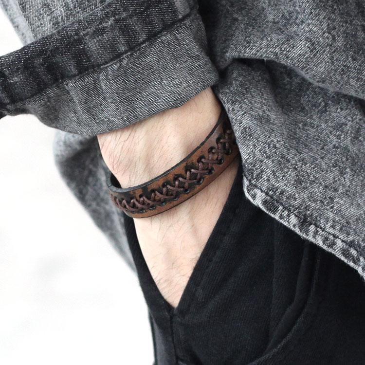手工涂彩做旧复古牛皮手链情侣手带男士欧美女生韩版时尚百搭手链
