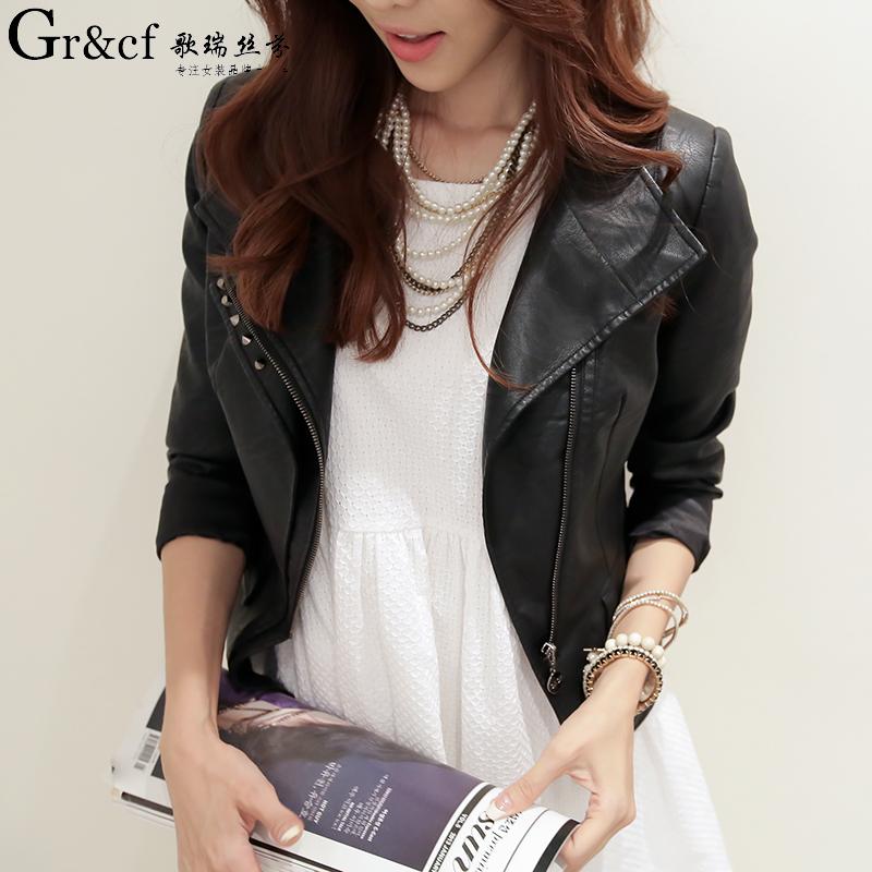 歌瑞丝芬通勤立领2015春季新款商场同款韩版修身短款pu皮夹克