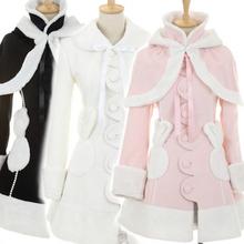 lolita日系公主冬装外套可爱羊绒大衣*送披肩 雪兔