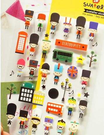 韩国直送Sonia 可爱英国皇家士兵玩具平面pvc装饰贴纸 DIY贴纸