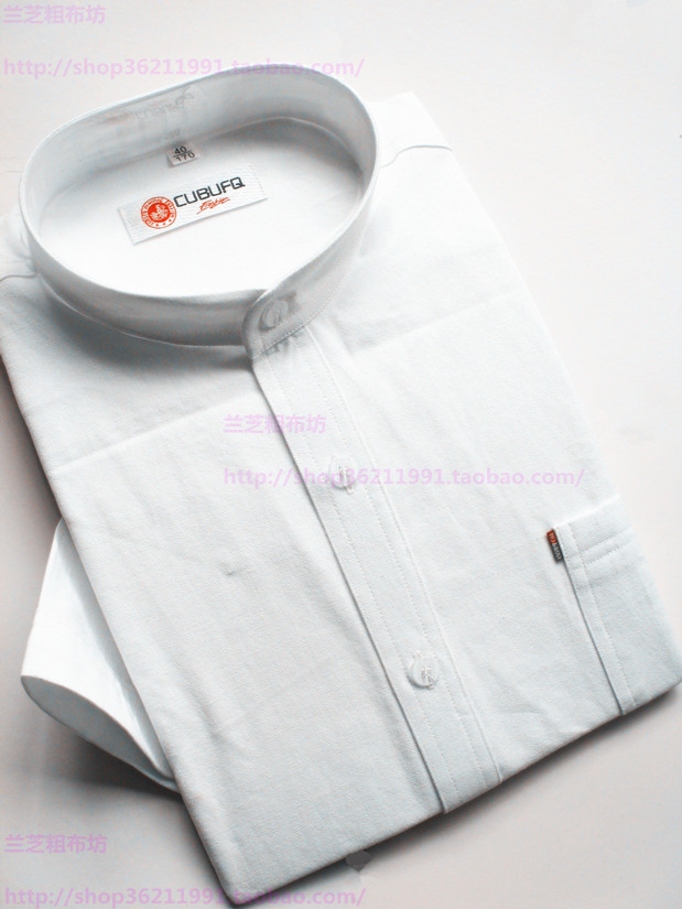 Cotton coarse cloth mens Chinese stand collar short sleeve shirt half sleeve business solid color shirt commuting professional suit