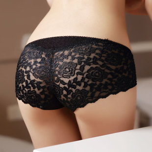 Transparent lace fans pupil Ms high end embroidery bamboo fiber underwear waist Seamless underwear briefs