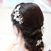 Good pretty dazzling bride headdresses Korean side clip wedding bride wedding dress accessory Pan clip