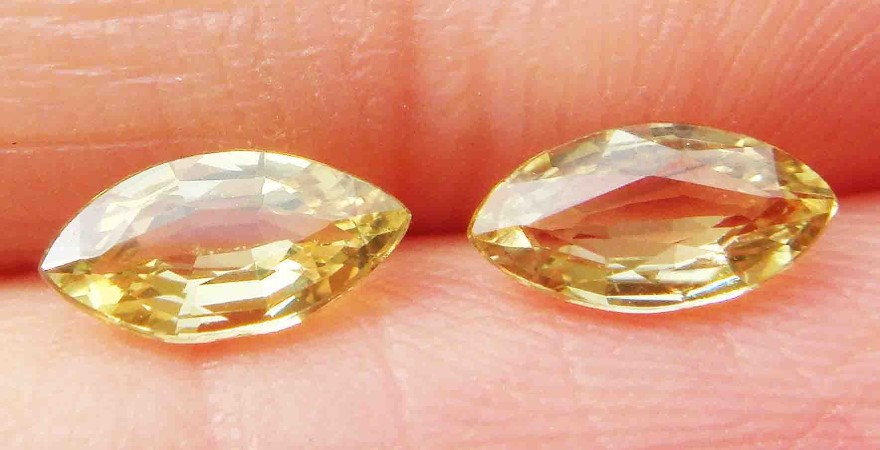 Yellow natural sapphire bare stone ms3.7 * 7.2mm two