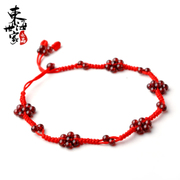 Family in the East China sea monkey born in garnet red rope anklet jewelry seven female hand-woven anklets