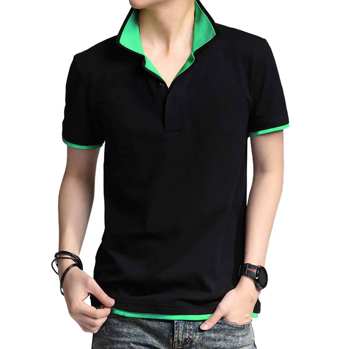 Мужская рубашка воротник футболка короткий рукав t рубашка летней молодежи сплошной цвет хлопка дна рубашки мужские рубашки поло лацкан пальто