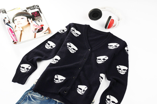 100 cashmere top Skull cardigan Special clearance all cash