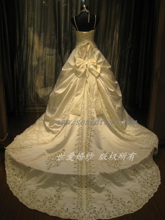 High grade car bone embroidered wedding dress big tail wedding dress sling Korean palace wedding dress boutique workmanship yl154