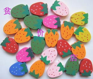 Kindergarten DIY handmade beaded material color wood strawberry wooden beads amp plant wood chained